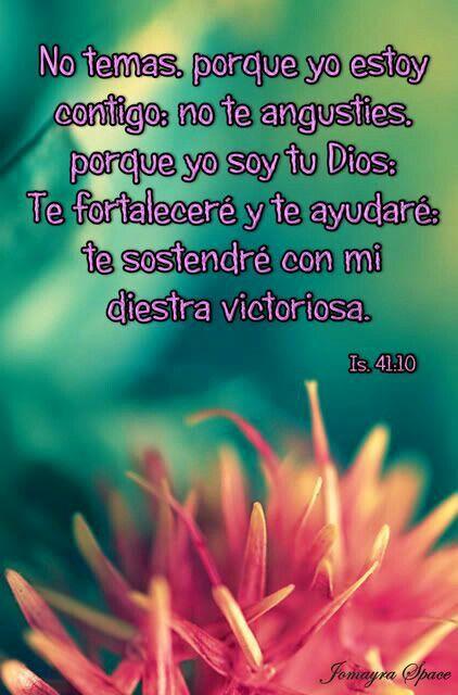 NO TEMAS PORQUE YO ESTOY CONTIGO NO TEMAS PORQUE YO SOY TU DIOS TE FORTALECERÈ Y TE AYUDARÈ TE SISTENDRÈ CON MI DIESTRA VICTORIOSA ISAIAS 41:10
