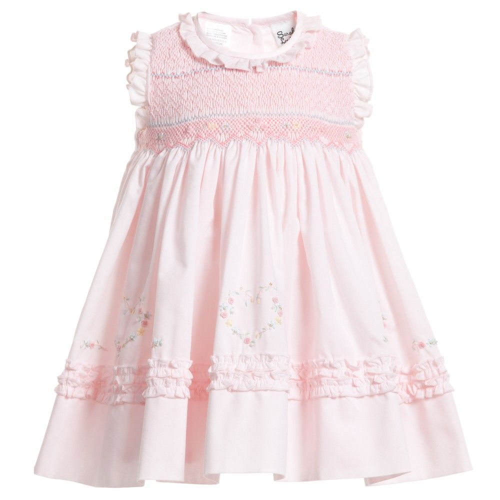 Baby Girls Pink Hand Smocked Dress , Sarah Louise, Girl | Styles ...