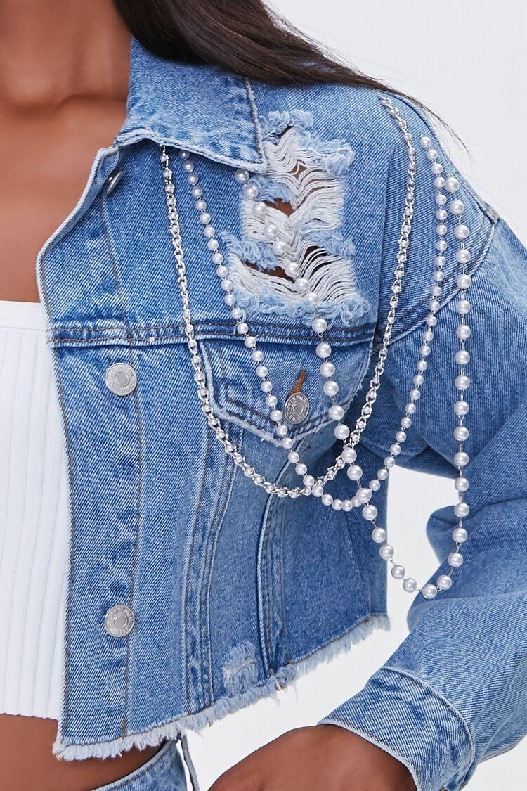 Faux Pearl Chain Frayed Denim Jacket Forever 21 In 2021 Frayed Denim Jacket Embellished Denim Jacket Frayed Denim [ 1125 x 750 Pixel ]