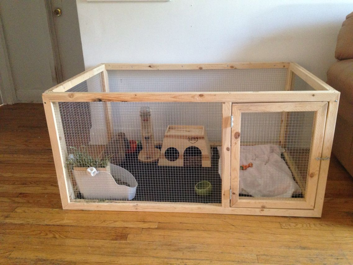 This is the bunny cage my boyfriend and i made for my two for What is a rabbit hutch