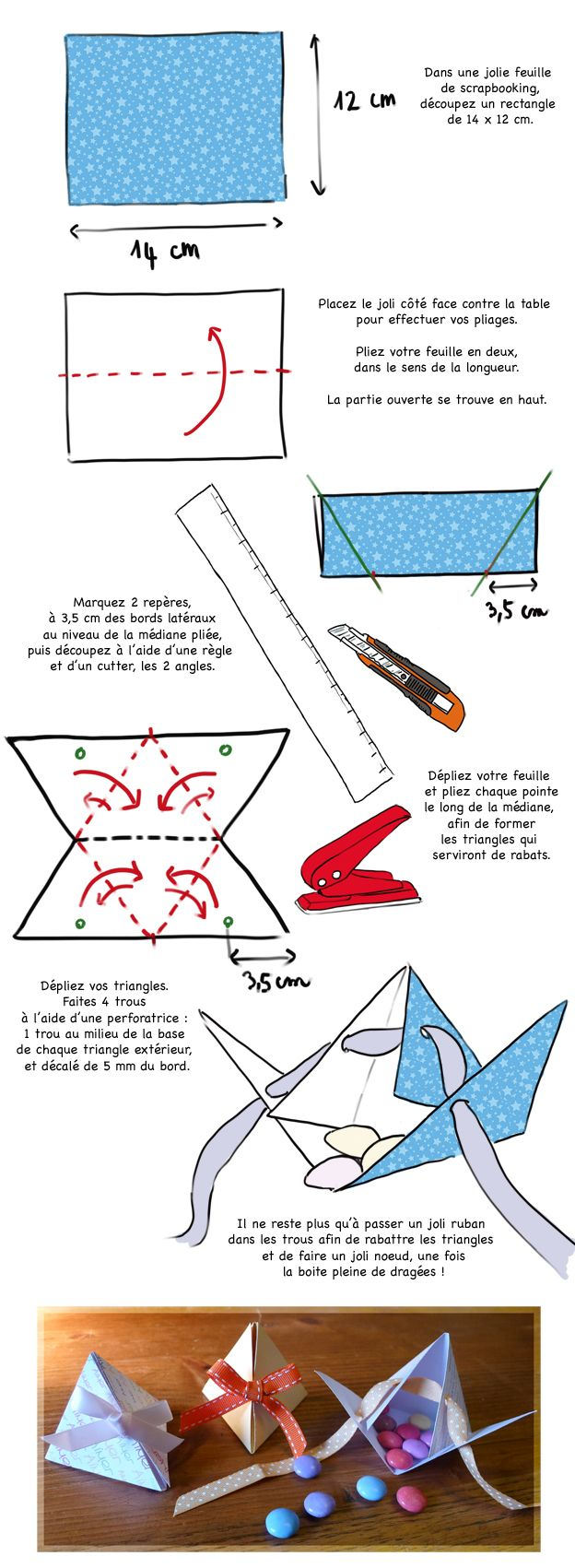 Assez DIY mariage : créer des boîtes à dragées en forme de pyramides  ZF84