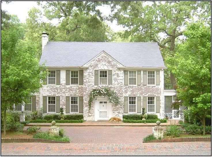 Whitewashed Brick And Green Shutters Colonial Exterior Exterior