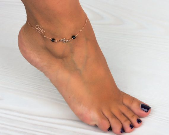 Rose gold anklet Lightning Bolt Black anklet by OlizzJewelry