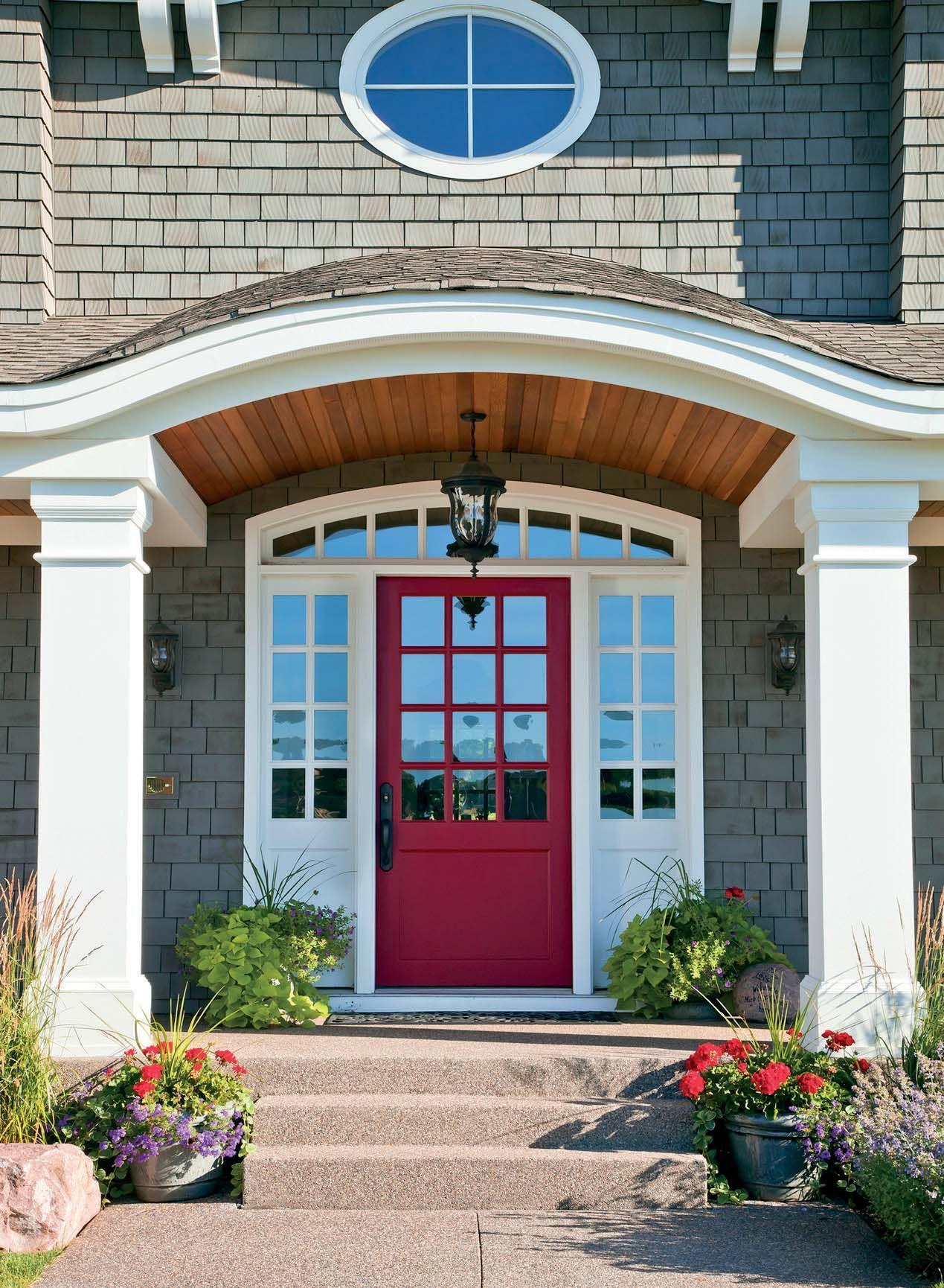 Above exterior window decor  gray house red door  red doors  pinterest  grey houses doors