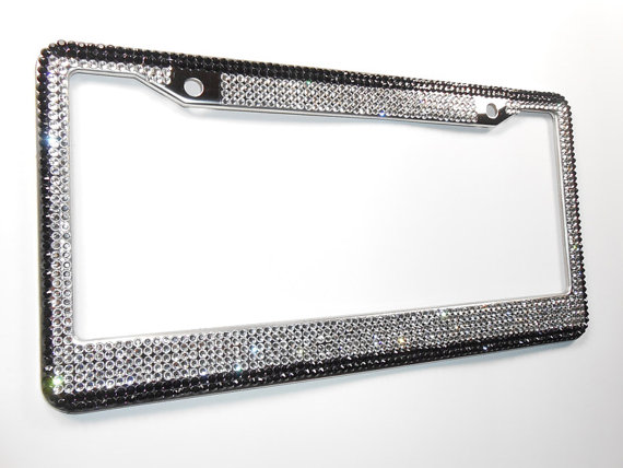 Thin BLUE Crystal Rhinestone License Plate Frame made with Swarovski Elements