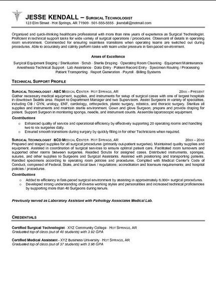 Surgical Technologist Student Resume Sample Schoolin\u0027 Life