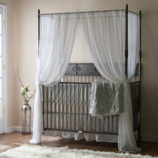 Bratt Decor Wrought Iron Indigo Convertible Canopy Crib - Pewter - Baby Cribs at Cribs & Bratt Decor Wrought Iron Indigo Convertible Canopy Crib - Pewter ...