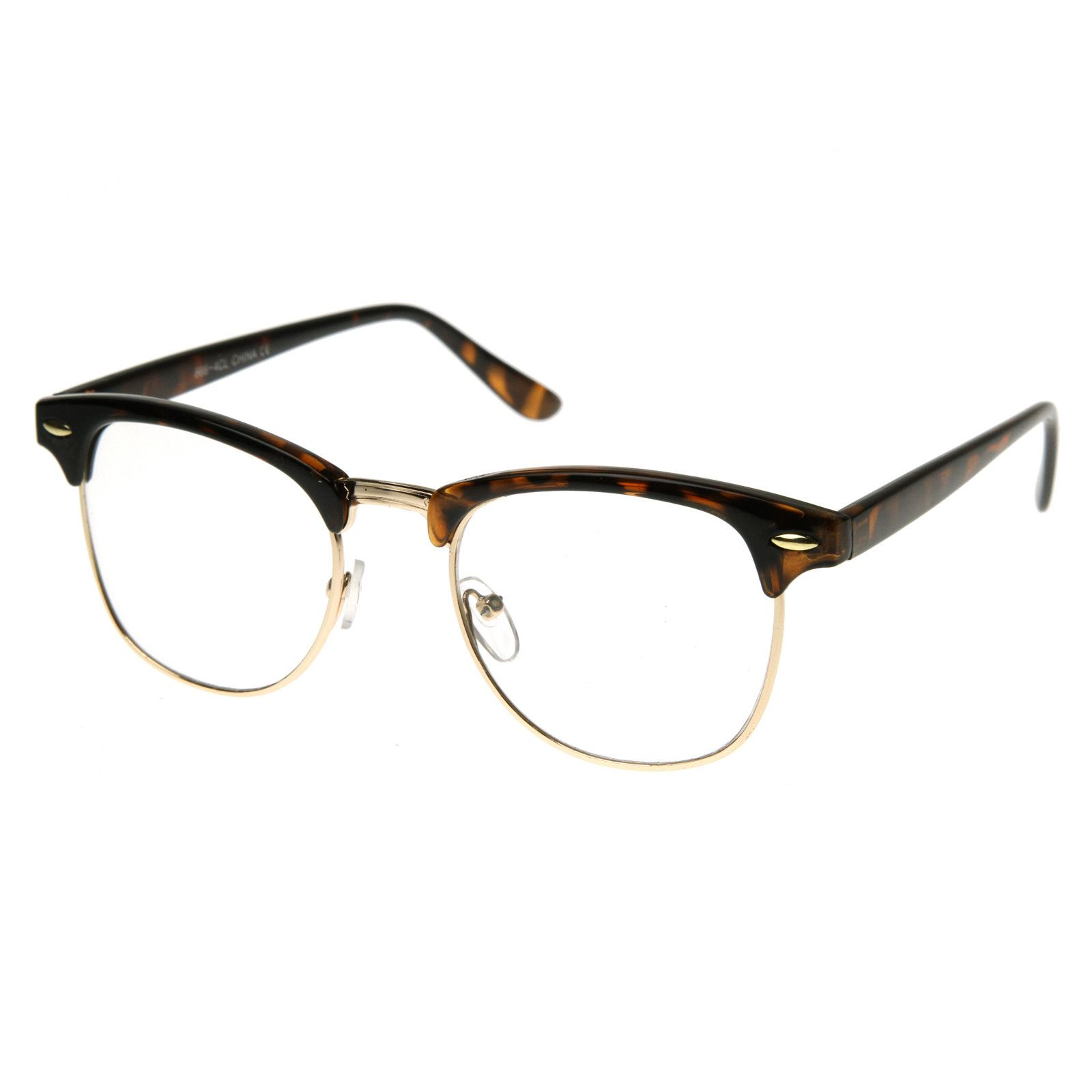 92136f3291a7f Vintage Inspired Classic Horned Rim Half Frame Clear Lens Glasses 2933