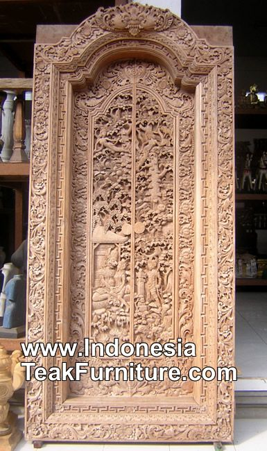 Handcarved Door From Bali Indonesia With Traditional