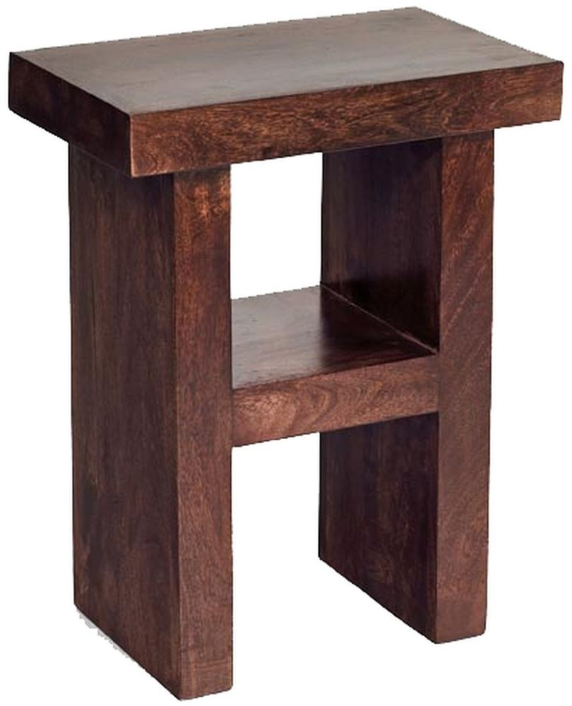 Madras Indian solid mango dark wood H shape hall lamp table stool. Madras Indian solid mango dark wood H shape hall lamp table stool