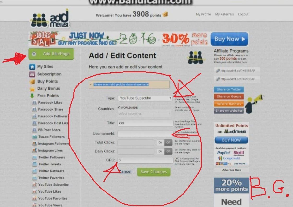Addmefast Please Enter Valid Youtube Channel Username Fix Youtube Affiliate Programs Channel