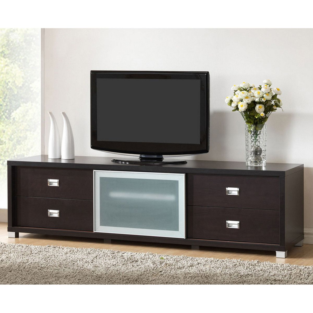 Botticelli Brown Modern Tv Stand With Frosted Glass Door Future