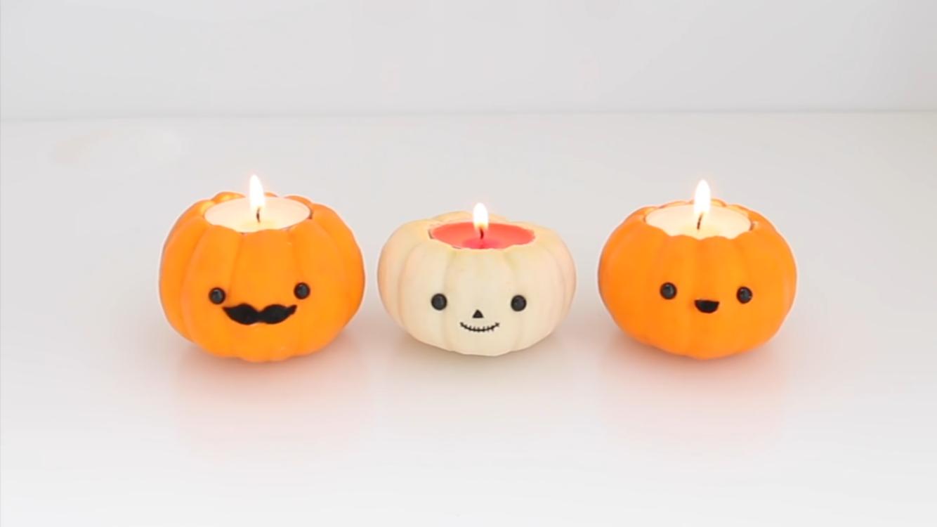 cute pumpkin candles made by nim c in her diy fall room decor