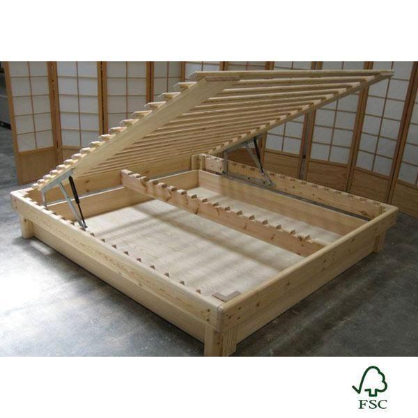 Cama Somier madera Fustaforma con arcón abatible | Diseño de formas ...