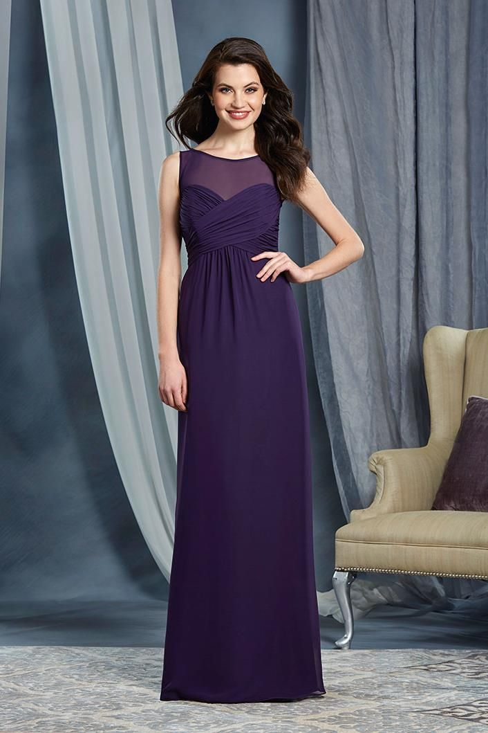 We love this dark purple bridesmaid dress with an illusion neckline ...