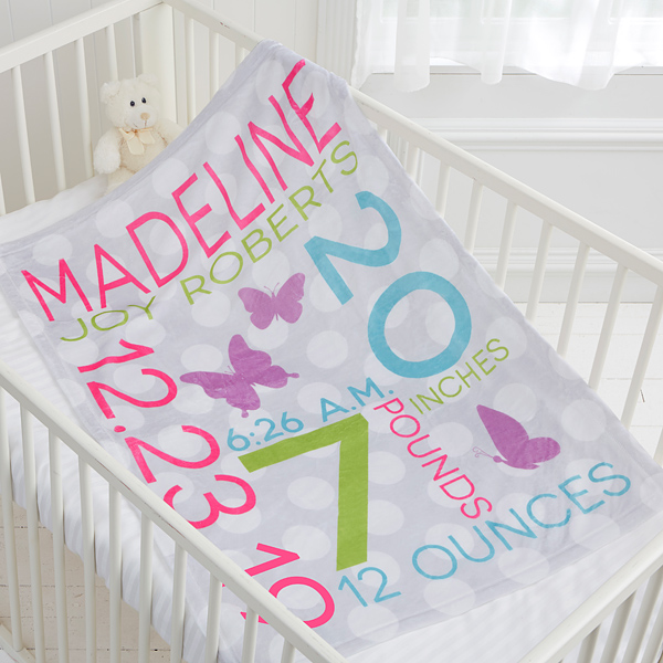 Sweet Baby Girl Personalized 30x40 Fleece Blanket Cute Baby