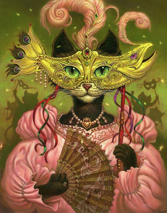 Cat Art / Cat Artist / Mardi Gras Cat called Incatneato. You can find framed prints and canvas prints here.