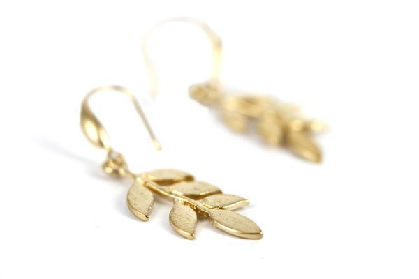 Boucles d'oreilles feuilles dorées