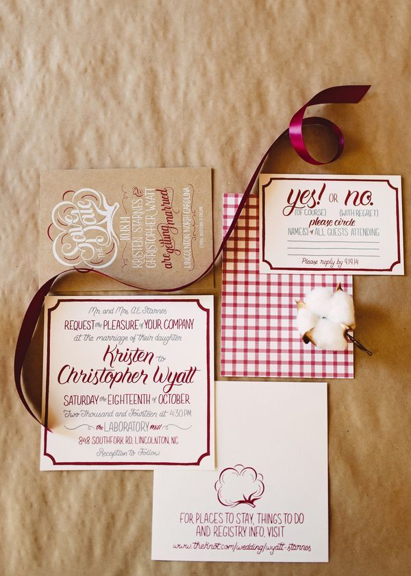 Ade hogue designed this gingham and cotton themed invitation suite ade hogue designed this gingham and cotton themed invitation suite for a rustic southern wedding at the laboratory mill photo by crystal stokes stopboris Choice Image
