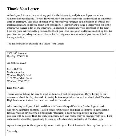 Teacher Thank You Letter Free Sample Example Format Mentor