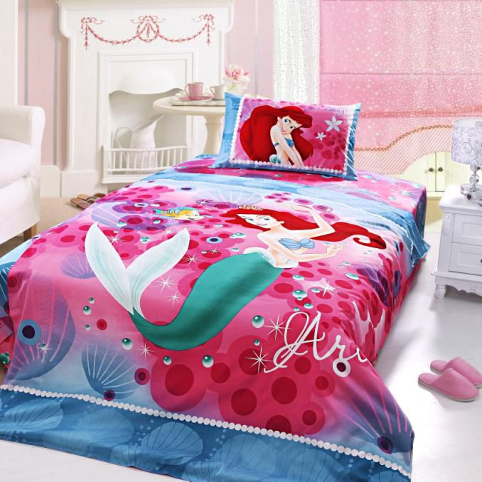 Flat Or Fitted Sheet Disney Princess Mermaid Queen Quilt Cover Set Home Garden Duvet Covers Bedding Sets