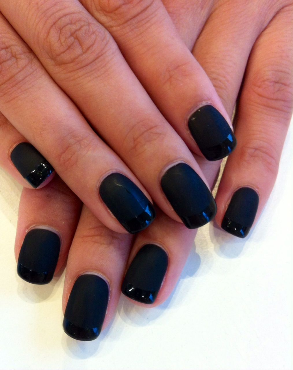 matte black base with french tips in bio sculpture gel colour