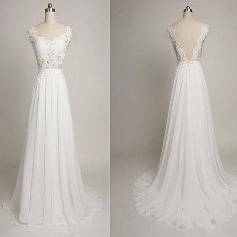 V-back Cap Sleeve Long Sheath White Lace Wedding Party Dresses, Chiffon Bridal Gown, WD0091