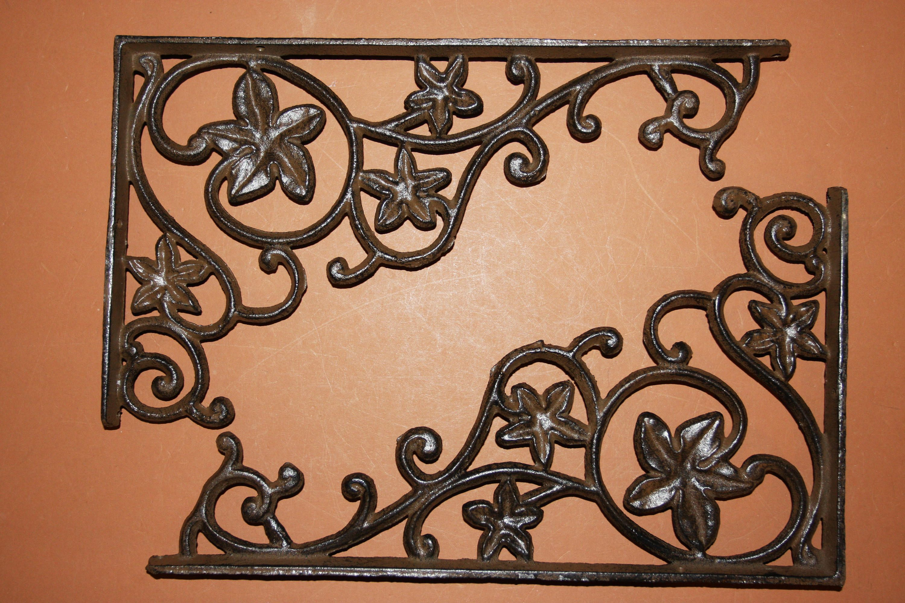 Hooks, Brackets & Curtain Rods Hardware 6 LARGE BROWN 8 SHELF BRACKETS WALL ANTIQUE-STYLE RUSTIC CAST IRON-SHELL DESIGN