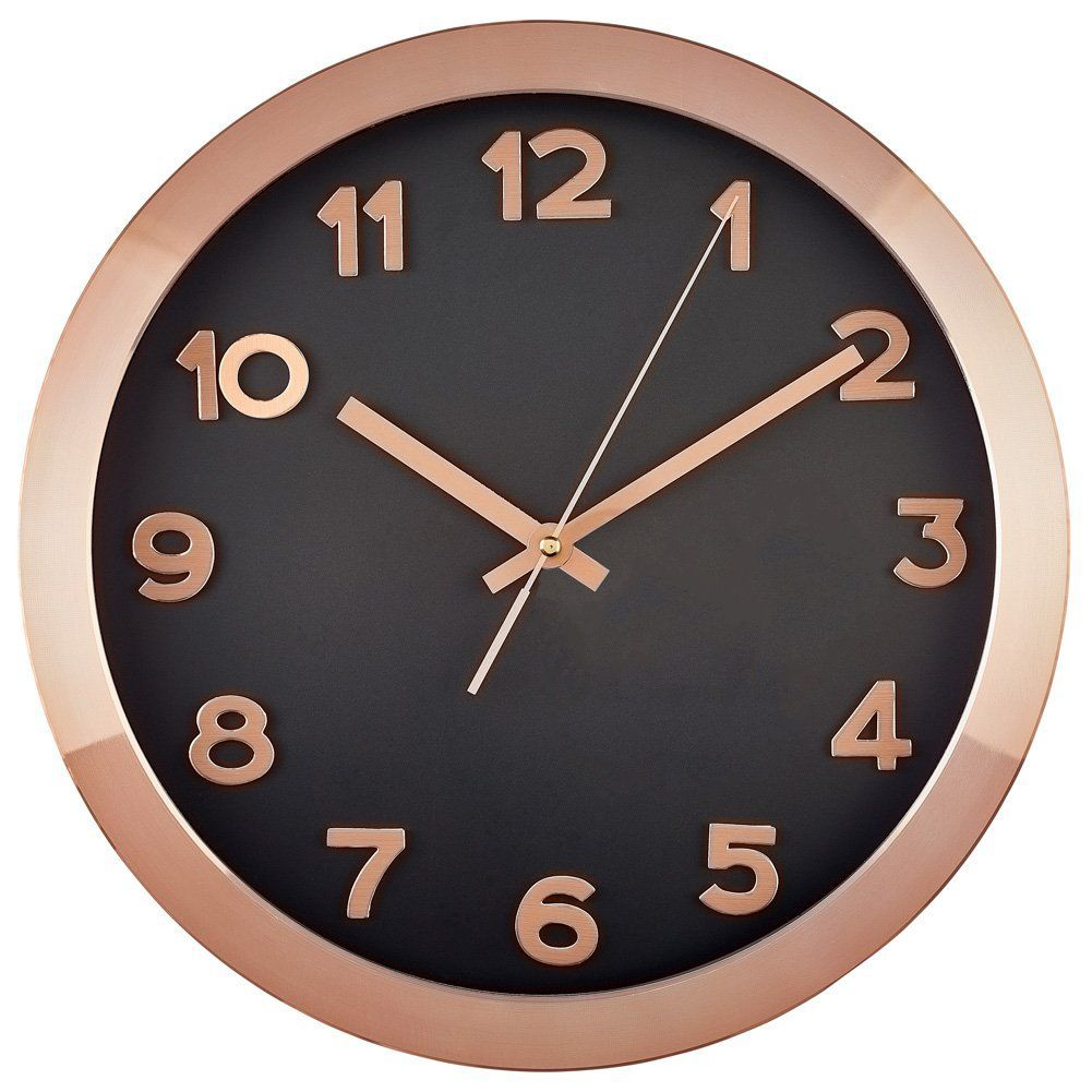 Amazonsmile Bernhard Products Large Wall Clock 14 Rose Gold Copper And Black Wall Clock With 3d Number Black Wall Clock Gold Wall Clock Rose Gold Kitchen