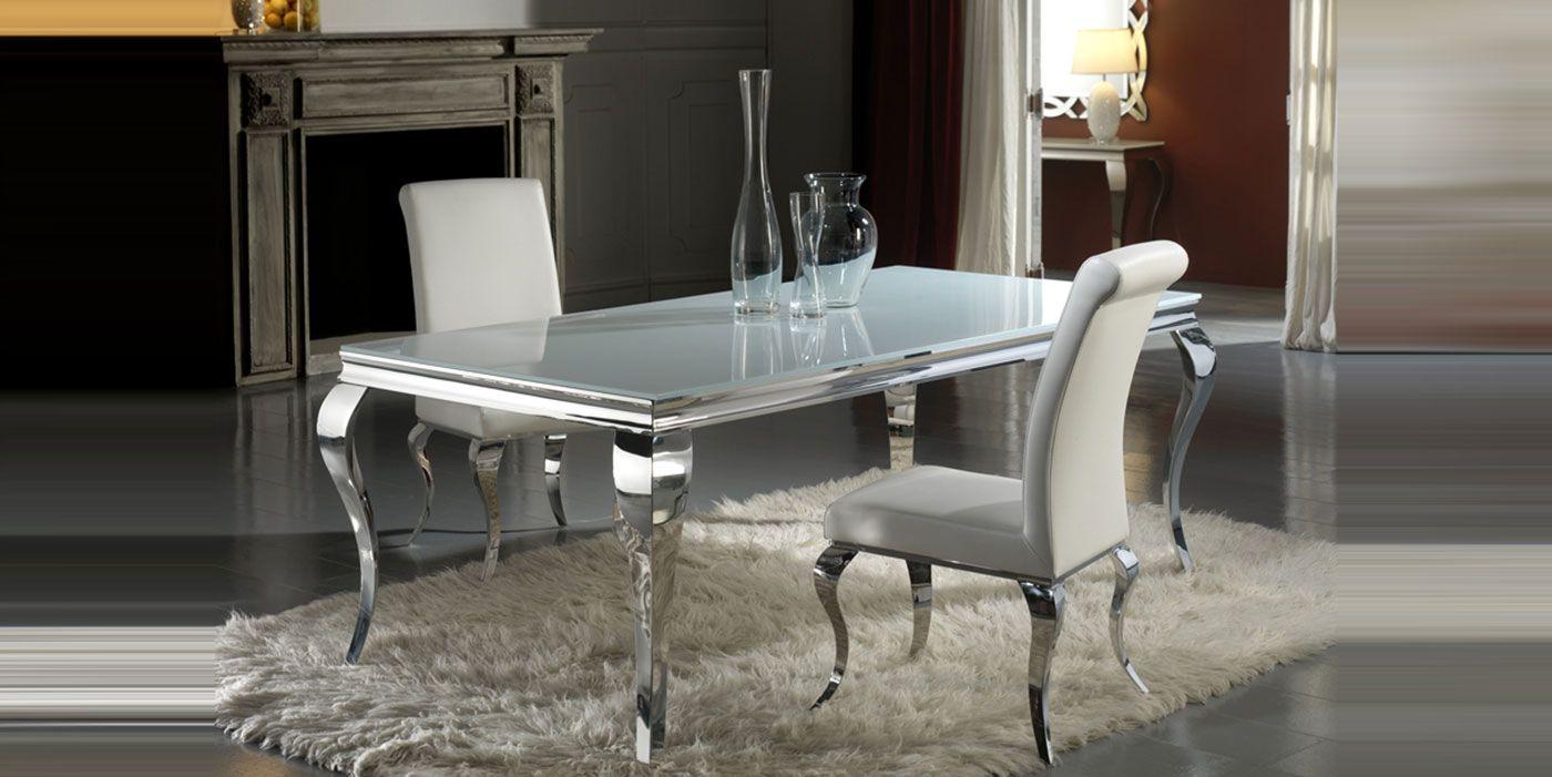 Mesa de comedor isabelina realizada en cristal y acero for Mesas comedor cristal y acero