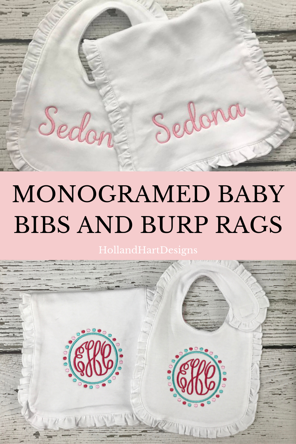 Personalized embroidered baby bib and burp cloth!!