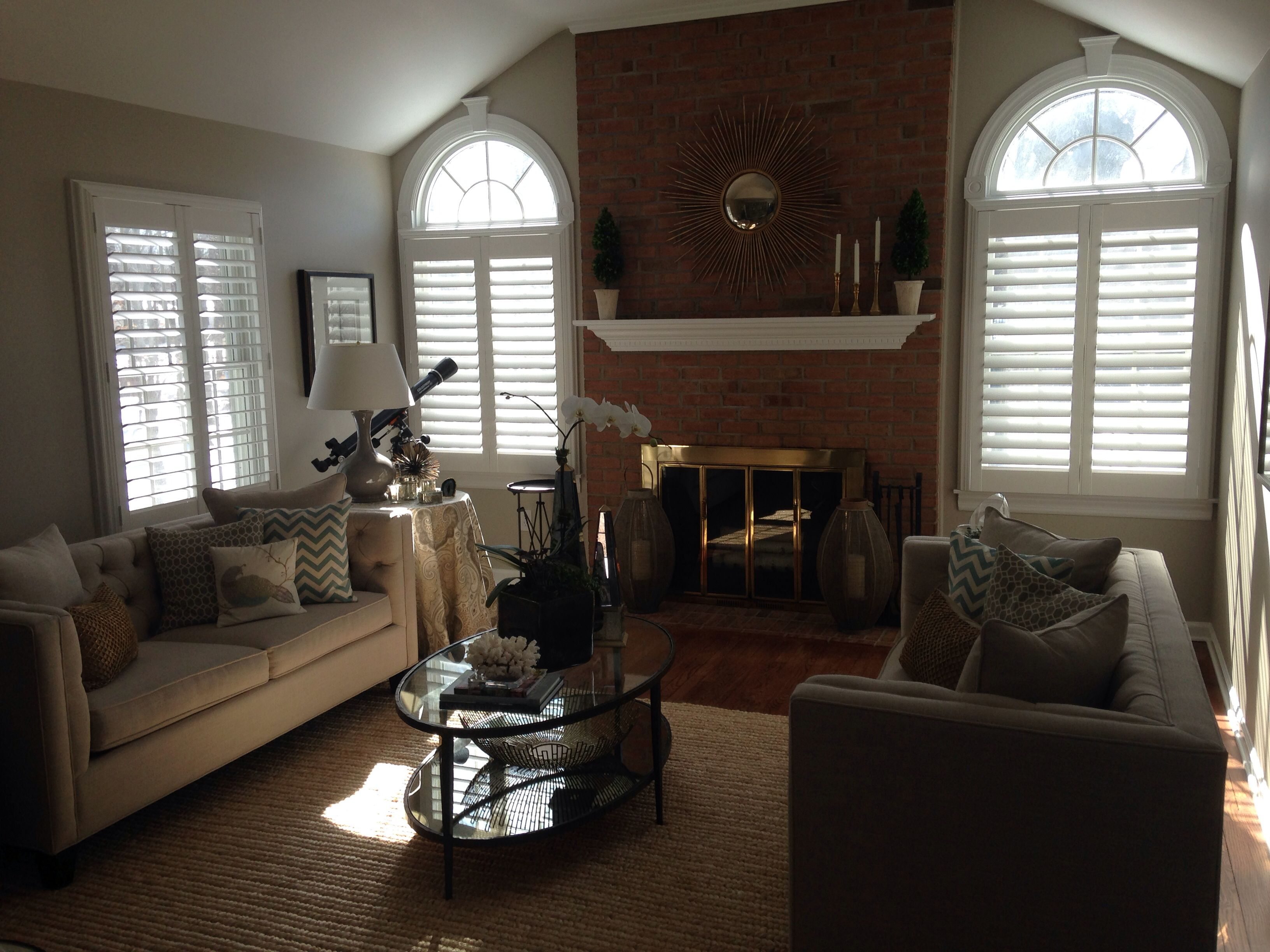 "3 1/2"" plantation Shutters with hidden tilt bars installed and sold by www.breslow.com"