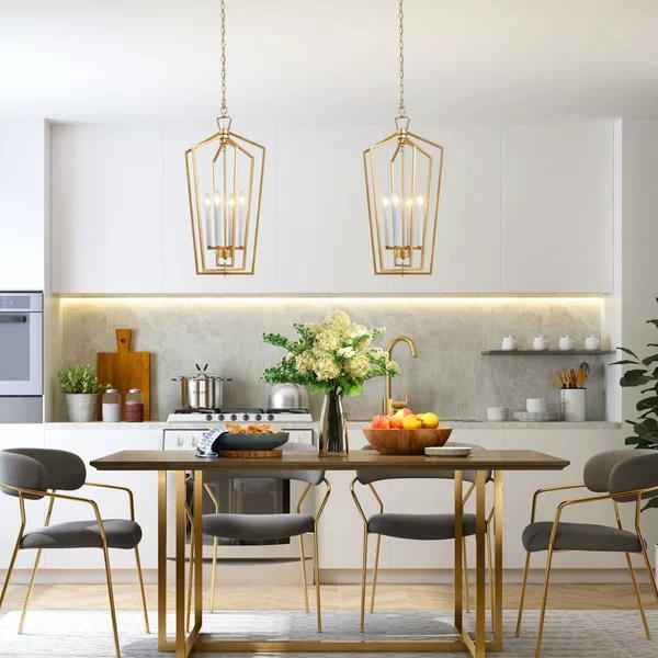 Crotty 4 Light Lantern Geometric Pendant In 2020 Gold Pendant Light Fixture Kitchen Pendant Lighting Kitchen Chandelier Lighting