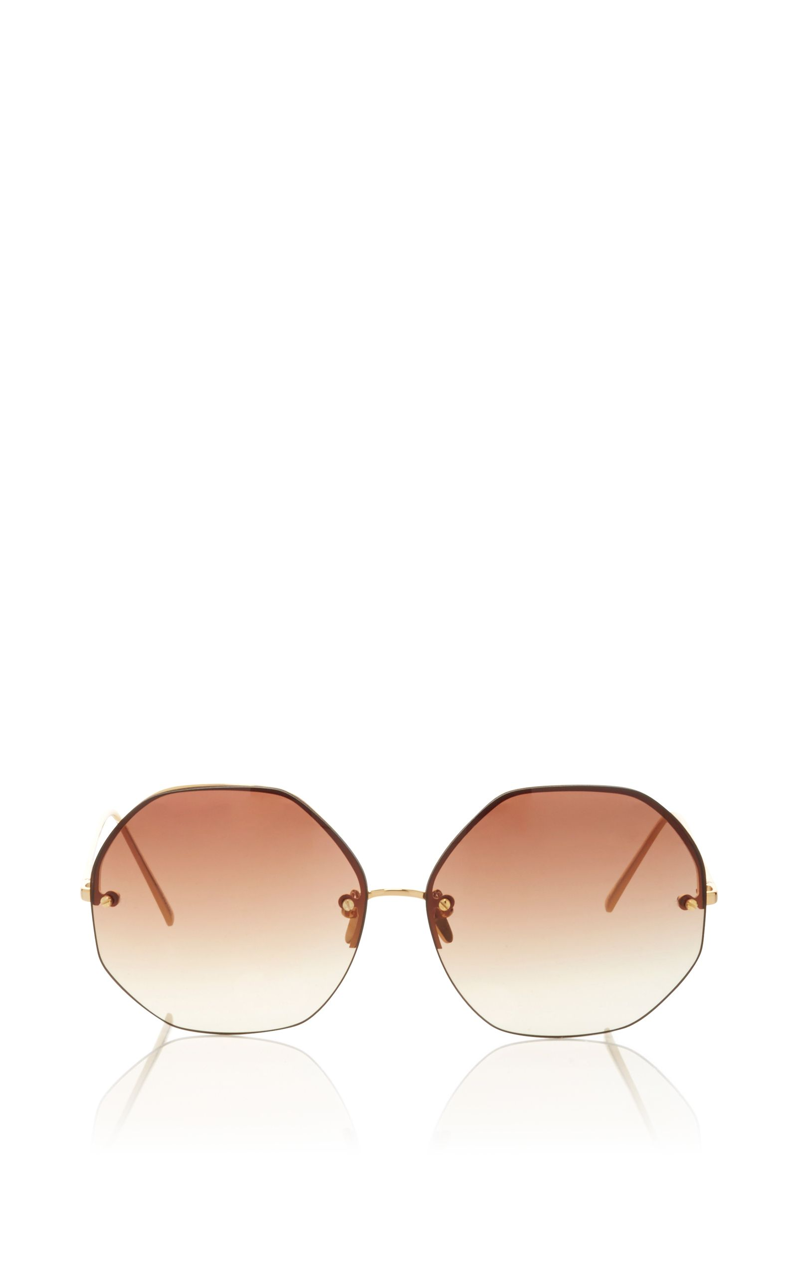ee57cfd934 Hexagon Frameless Sunglasses by LINDA FARROW Now Available on Moda Operandi