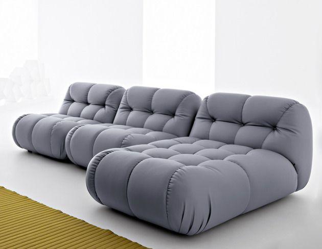 modulares Designer-Sofa Mimo gepolstert grau 3-sitzer Wohnen - designer couch modelle komfort