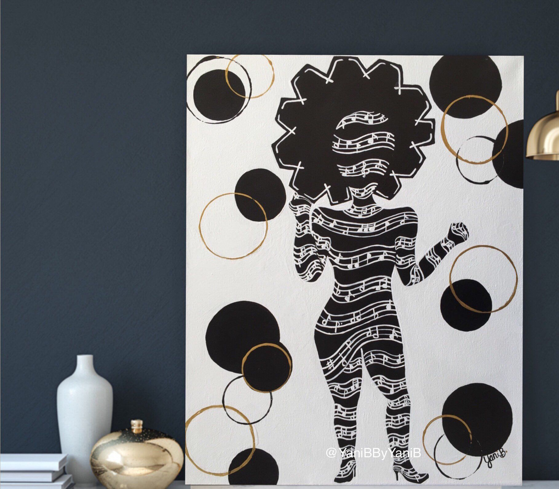 Original African American Wall Art Black And White Acrylic