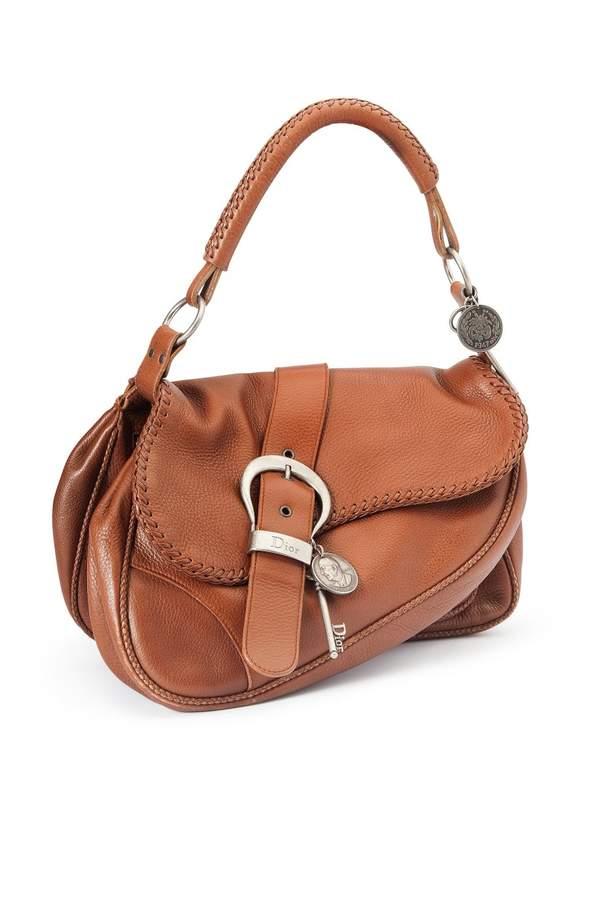 af45d1439401 Christian Dior Vintage Gaucho Brown Leather Handbag