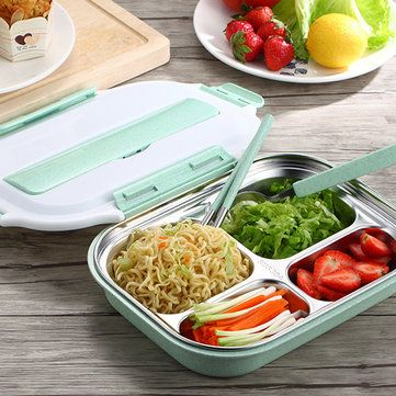 ea72cfa309b6 Microwavable Lunch Box Stainless Steel Bento Box Wheat Straw Food ...