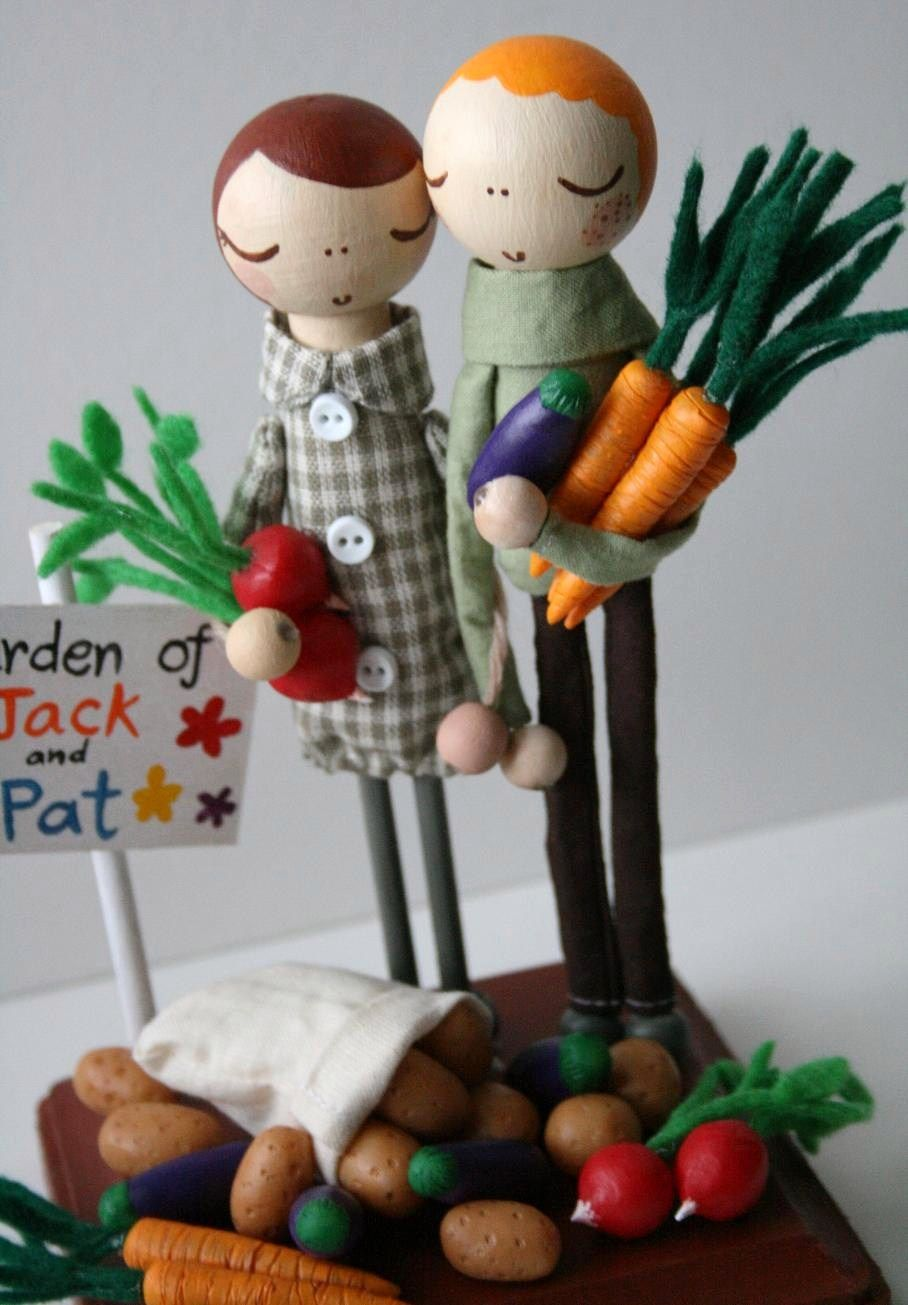 garden themed or farmers market wedding cake topper with wood people