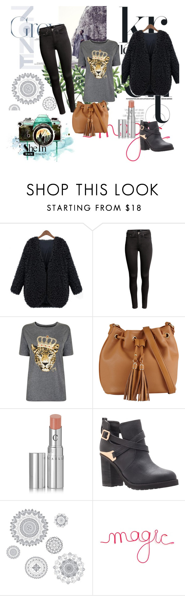 """""""Black V Neck Coat Shein"""" by dudavagsantos ❤ liked on Polyvore featuring H&M, Juicy Couture, ALDO, Chantecaille, Miss KG, WallPops and shein"""