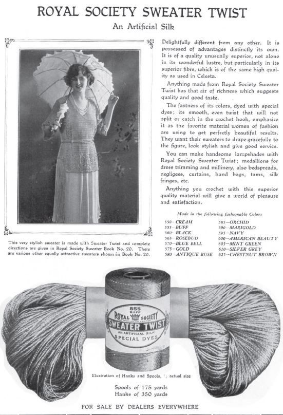 d3cb7d743b6 old ad from grandma s magazine   Royal Society - hanks and spools of  Sweater Twist (an artificial silk).