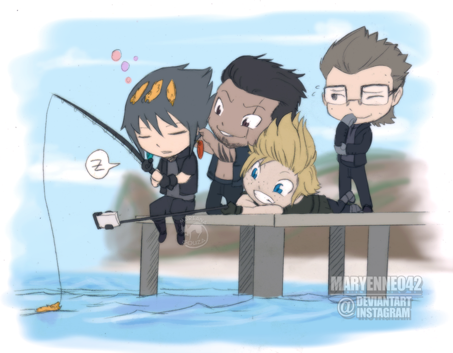 FF XV - Fishing With Friends by Maryenne042.deviantart.com on @DeviantArt