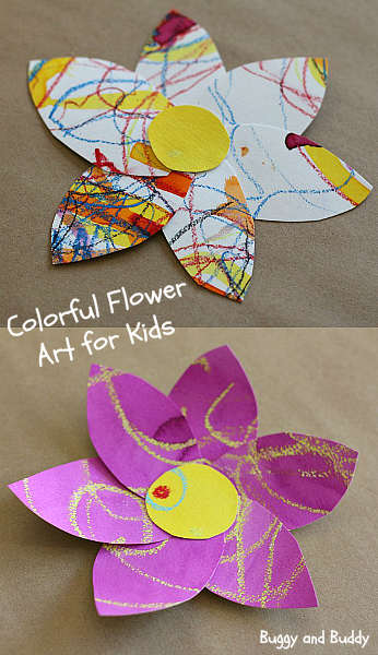 Spring Crafts For Kids Colorful Watercolor Resist Flowers
