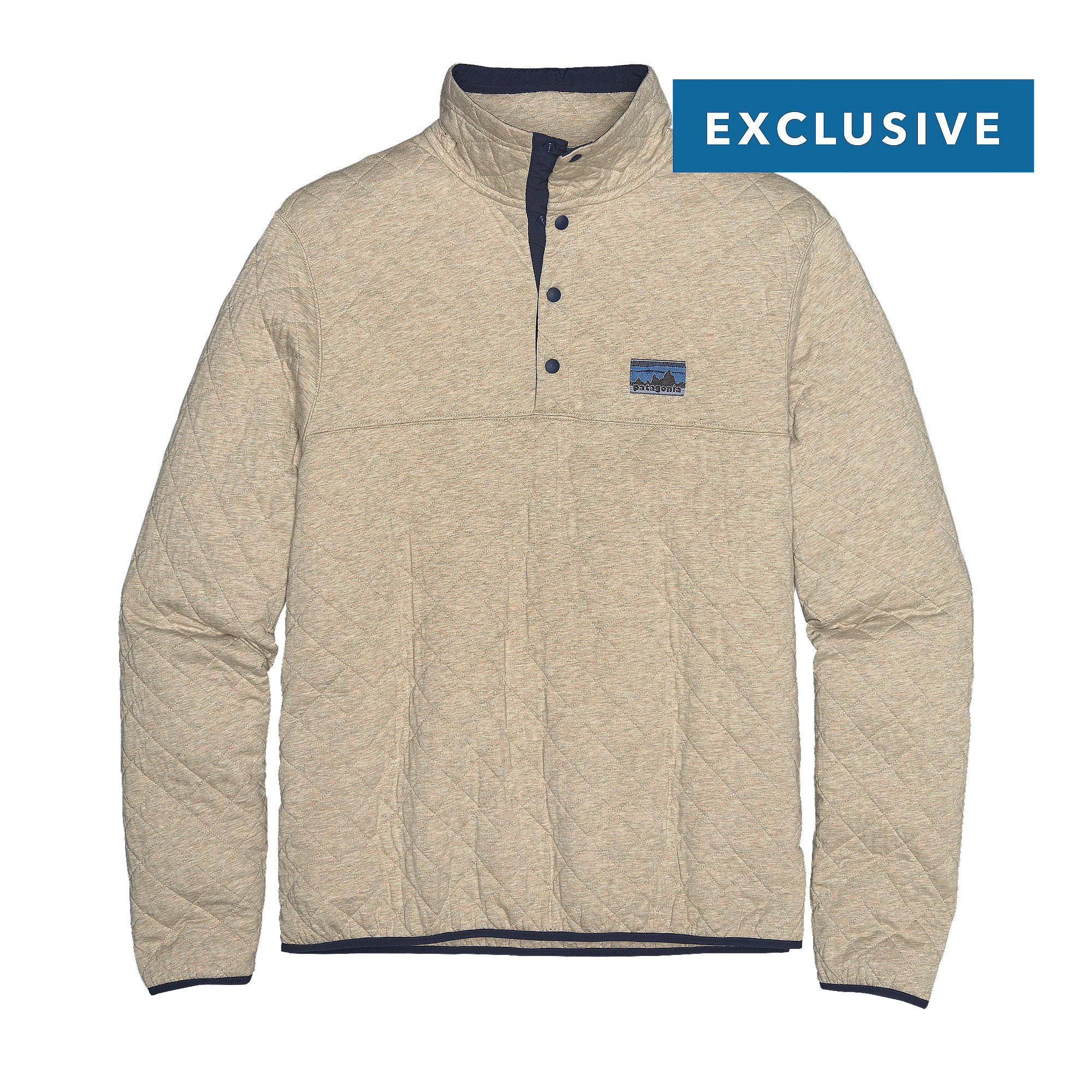 Our anniversary Patagonia Men's Diamond Quilt Snap-T® Pullover is made of  soft organic cotton for everyday layering warmth.