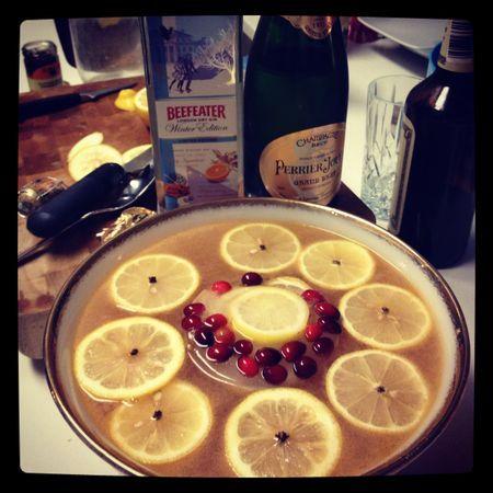 Dicken's Cider {homemade lemon and honey shrub, gin, ginger liqueur, ginger juice, apple juice, pear juice, Reagean's, champagne}