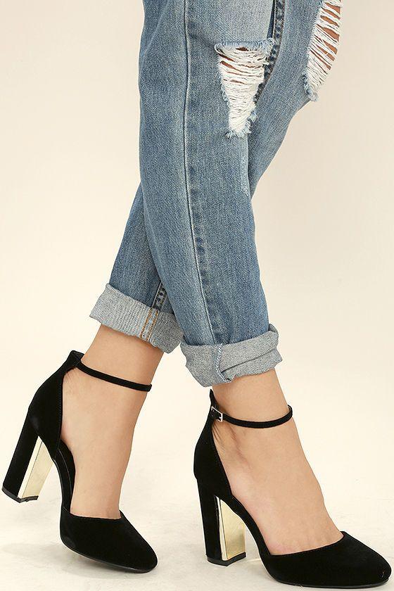 6e6bf8335 Lulus | Laura Black Velvet Ankle Strap Heels | Size 5.5 in 2019 ...