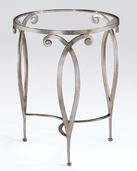 round hand-wrought iron table with scroll design db5228a72c