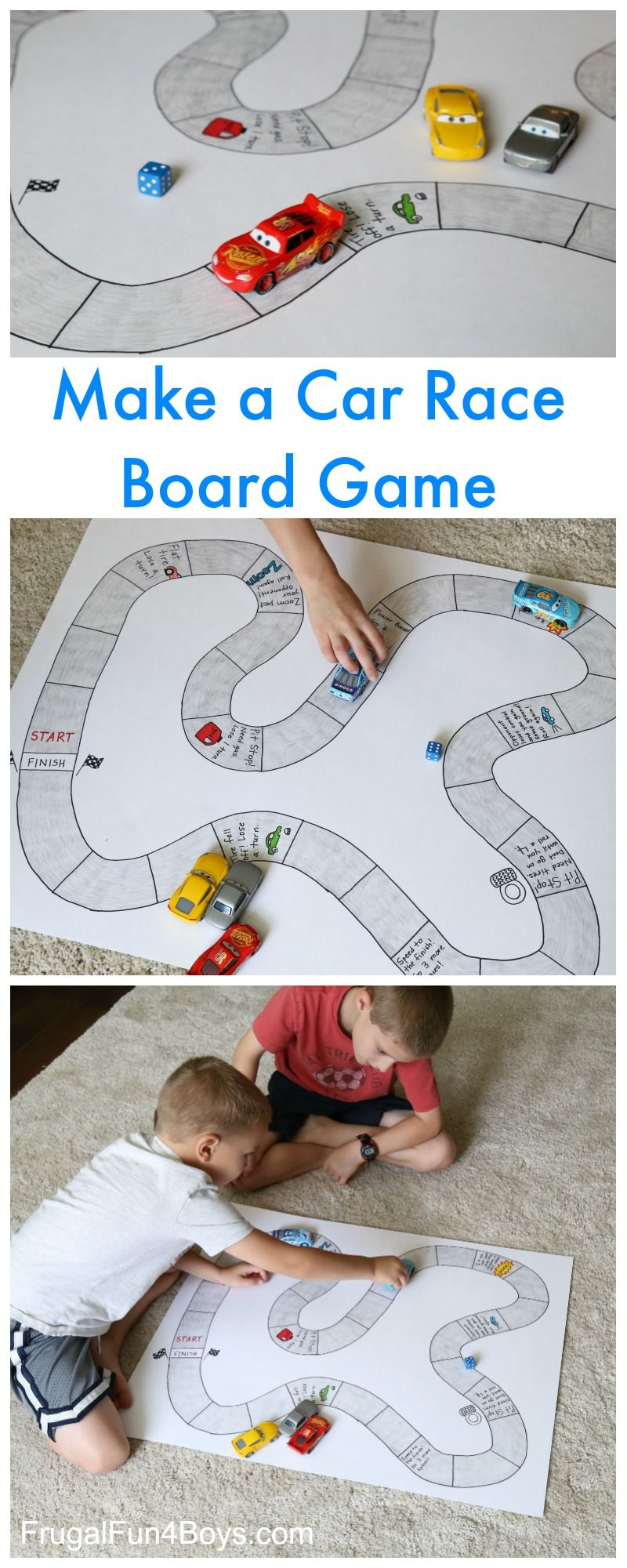 Make Your Own Car Race Board Game  Frugal Fun For Boys -9230