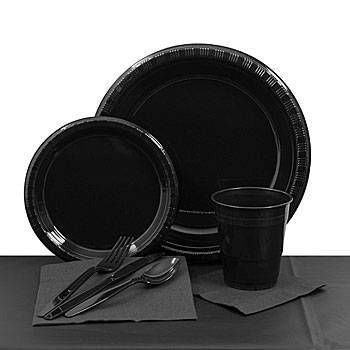 This affordable black plastic tableware includes enough plates cups napkins and cutlery for 20 people.  sc 1 st  Pinterest & The Black Plastic Tableware Set includes everything you need for a ...