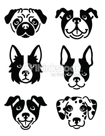 A Set Of 6 Dog Icons Featuring The Faces Of A Pug English Bulldog Dog Icon Dog Stencil Dog Drawing